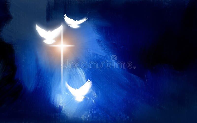 Chrześcijański rozjarzony krzyż z gołąbkami royalty ilustracja