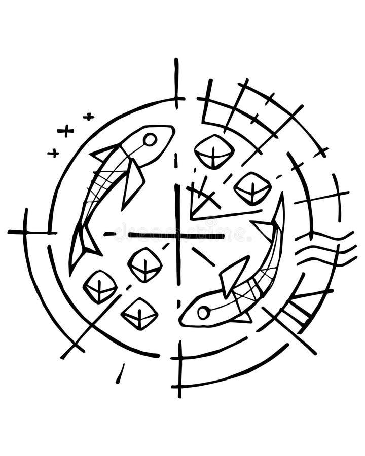 Chrześcijański symbol pięć chlebów i dwa ryba ilustracji