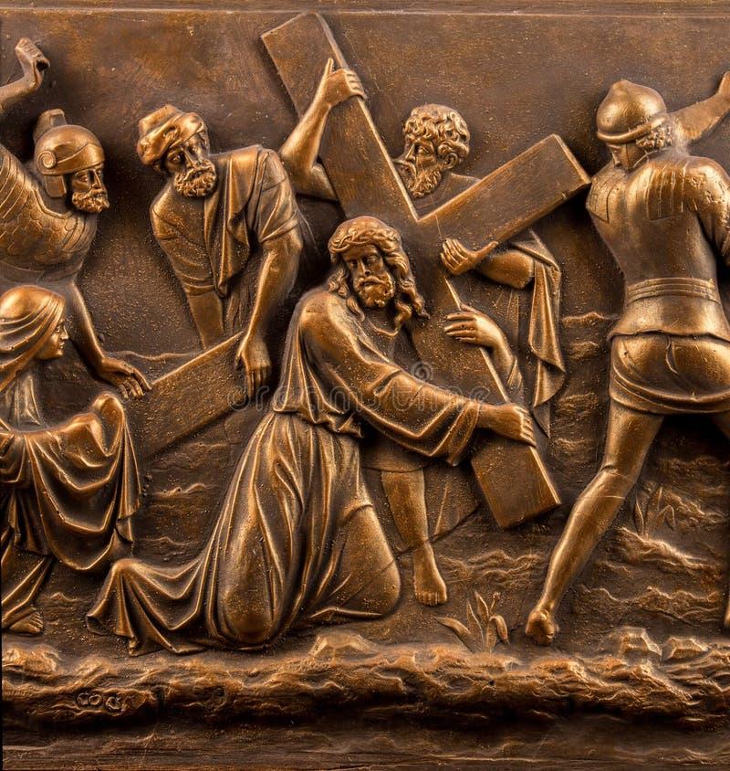 Chrześcijański tynk ulgi brązu obrazek zdjęcie stock