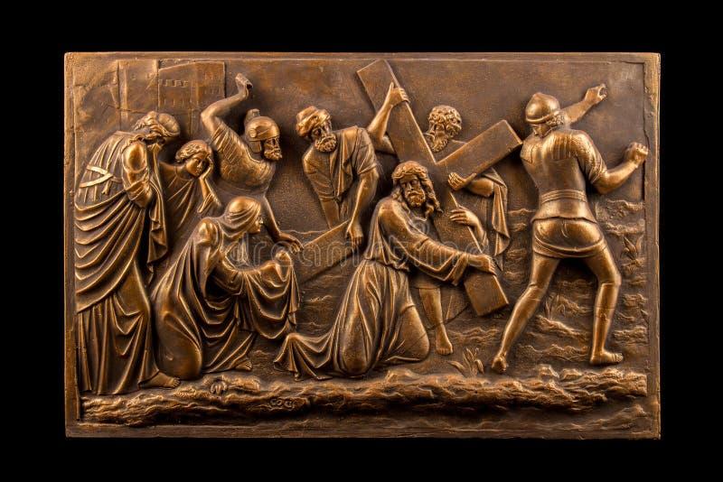 Chrześcijański tynk ulgi brązu obrazek obraz royalty free