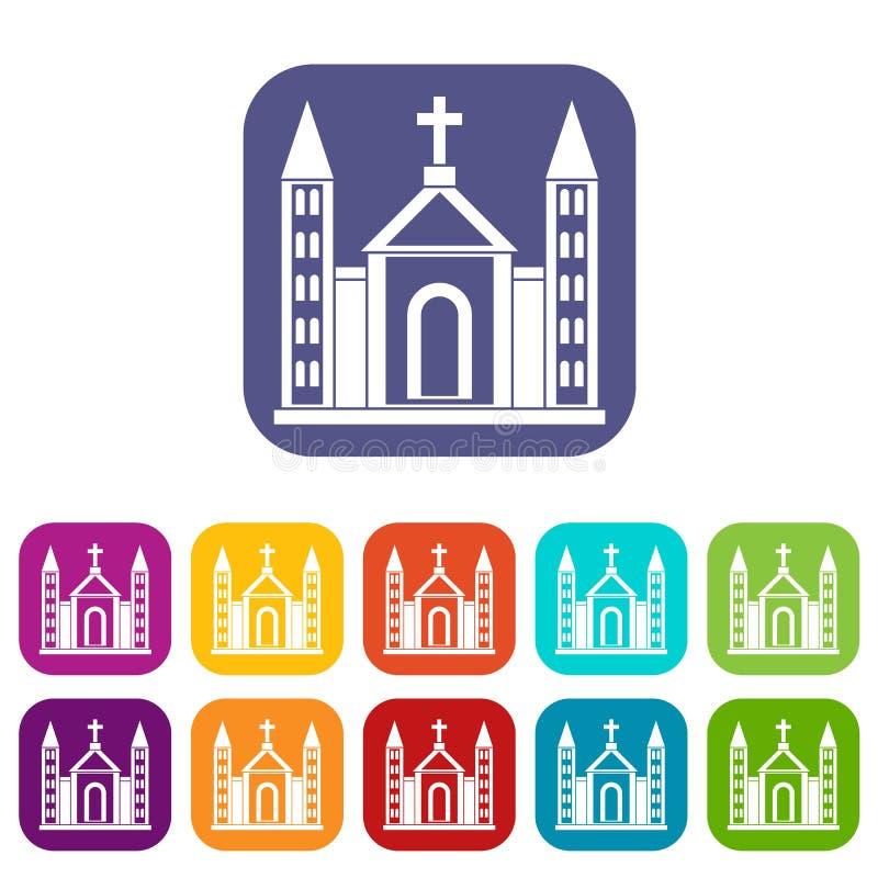 Chrześcijańskie kościół katolickiego budynku ikony ustawiać ilustracja wektor
