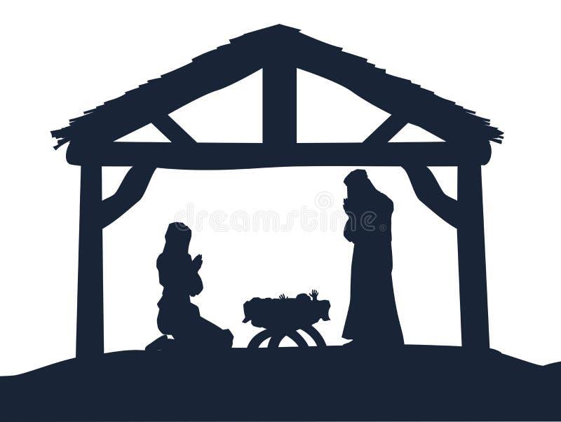 Chrześcijańskiego narodzenia jezusa sceny Bożenarodzeniowe sylwetki ilustracja wektor