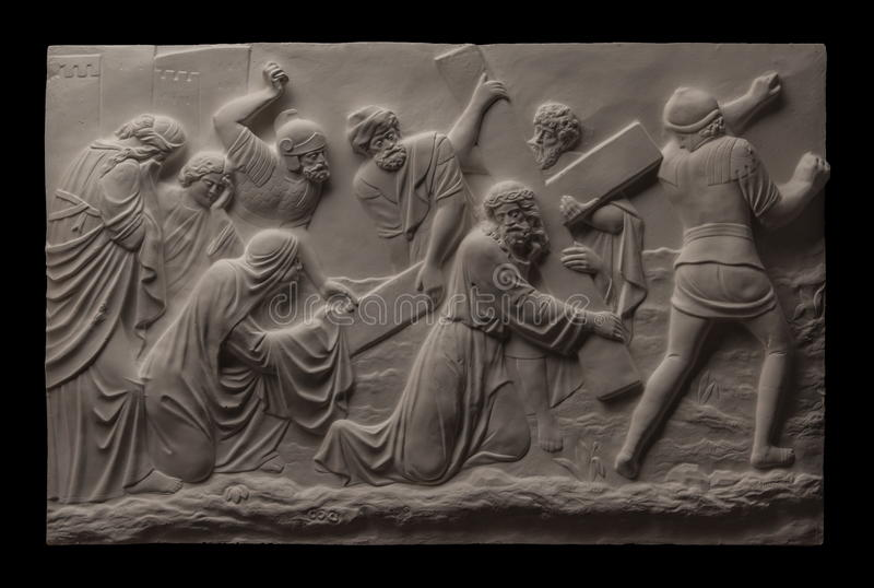 Chrześcijańskiego tynku reliefowy obrazek obraz royalty free
