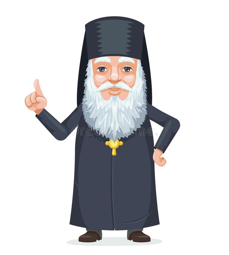 Chrześcijańskiej ortodoksja księdza brody tajemnicy mędrzec starej tajnej wiedzy postać z kreskówki tradycyjny kostiumowy projekt royalty ilustracja