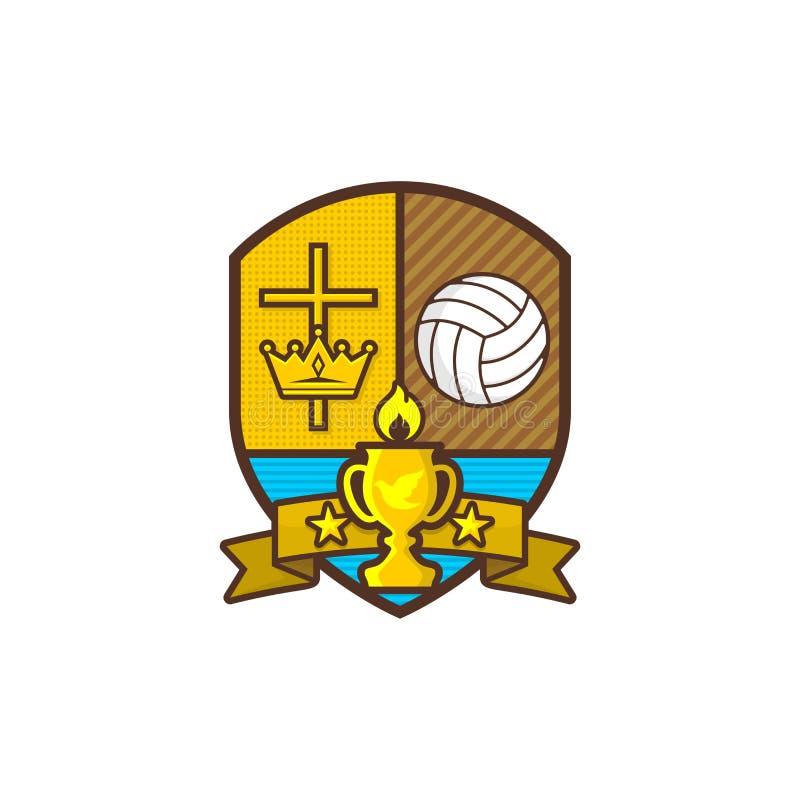 Chrześcijanin bawi się loga Osłona i czara, krzyż Jezus, korona królewiątko siatkówka Emblemat dla rywalizaci, klub, obóz ilustracja wektor