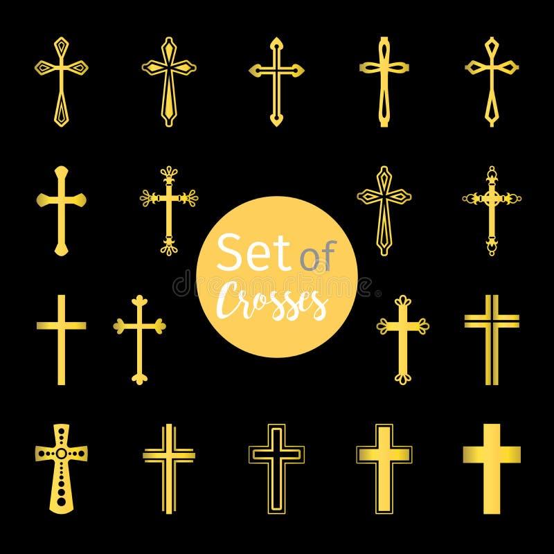 Chrześcijanin krzyżuje podpisuje wewnątrz złotego kolor royalty ilustracja
