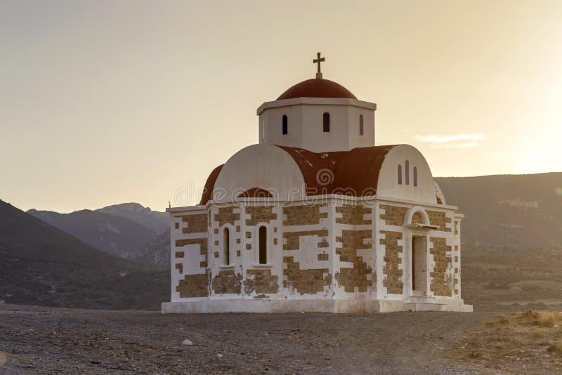 Chrześcijanin, Ortodoksalny kościół w górę wyspy Crete, Grecja obrazy stock