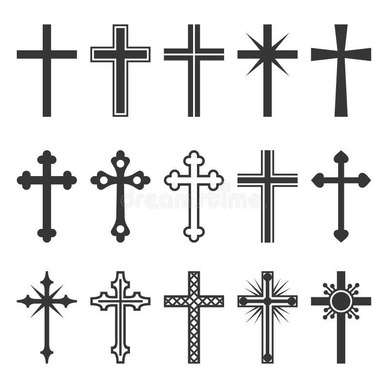 Chrześcijanin Przecinające ikony Ustawiać na Białym tle wektor ilustracja wektor