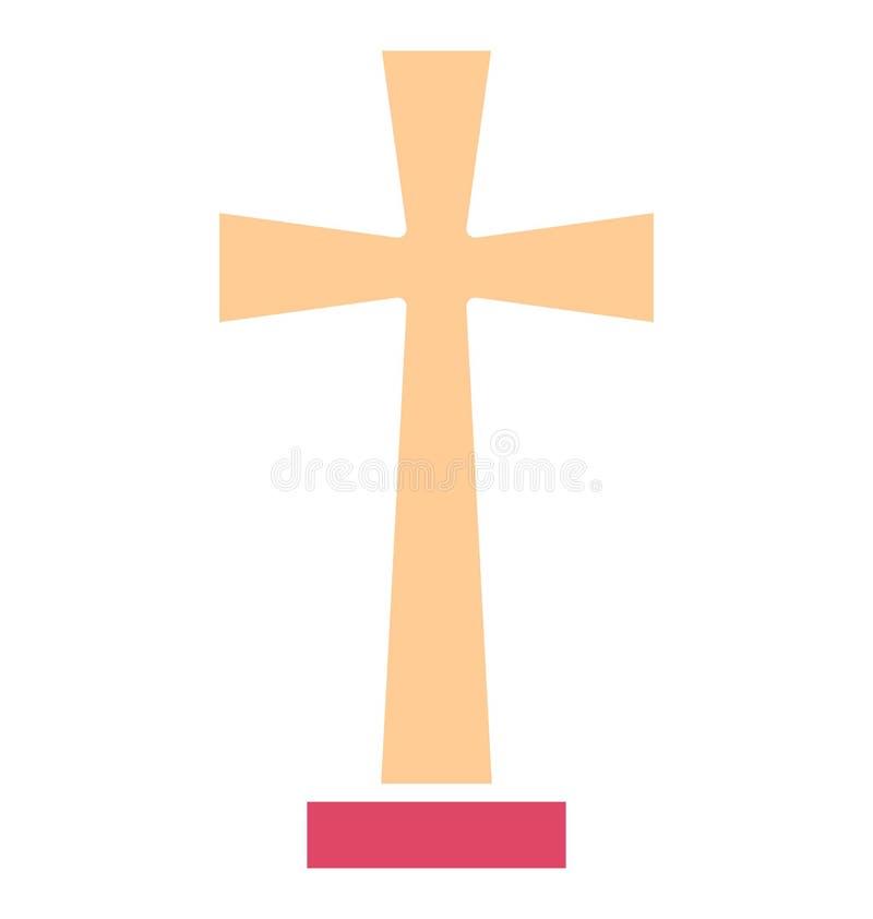 Chrześcijanina krzyż, chrześcijaństwo Odizolowywał Wektorową ikonę chrześcijaństwo która może modyfikować chrześcijanina krzyż re royalty ilustracja