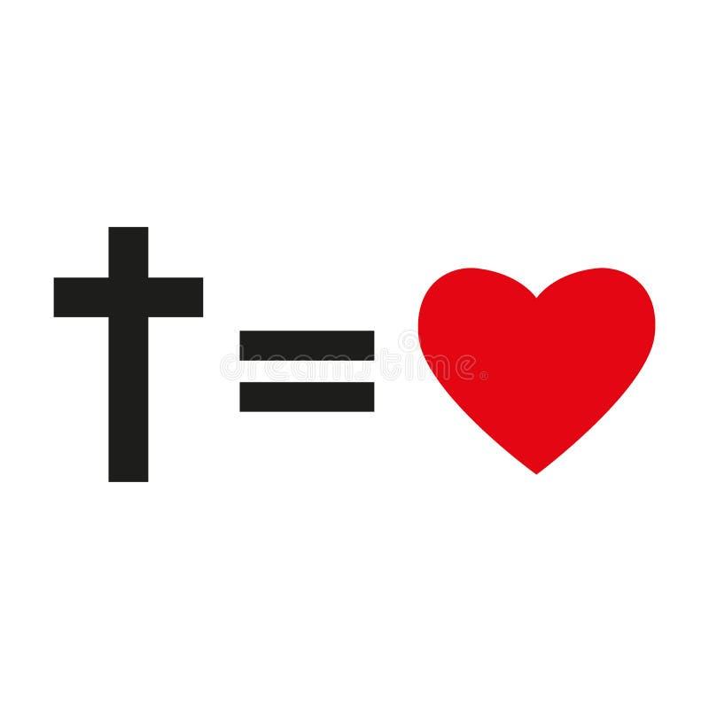 Chrześcijanina krzyż i sylwetka serce Symbol odizolowywający na białym tle chrześcijańska miłość również zwrócić corel ilustracji royalty ilustracja