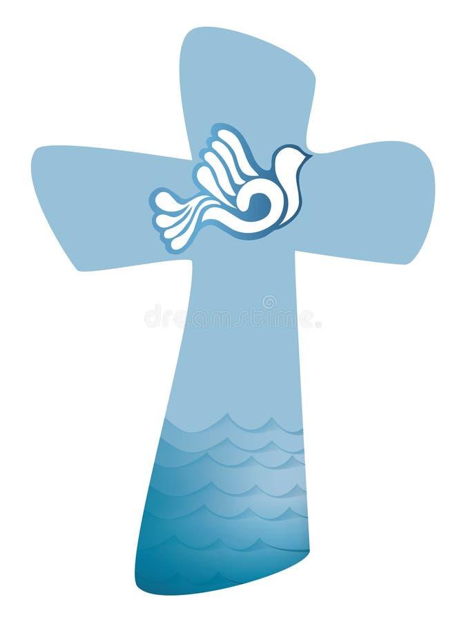 Chrześcijanina przecinający ochrzczenie Świętego ducha symbol z gołąbką i fala woda royalty ilustracja