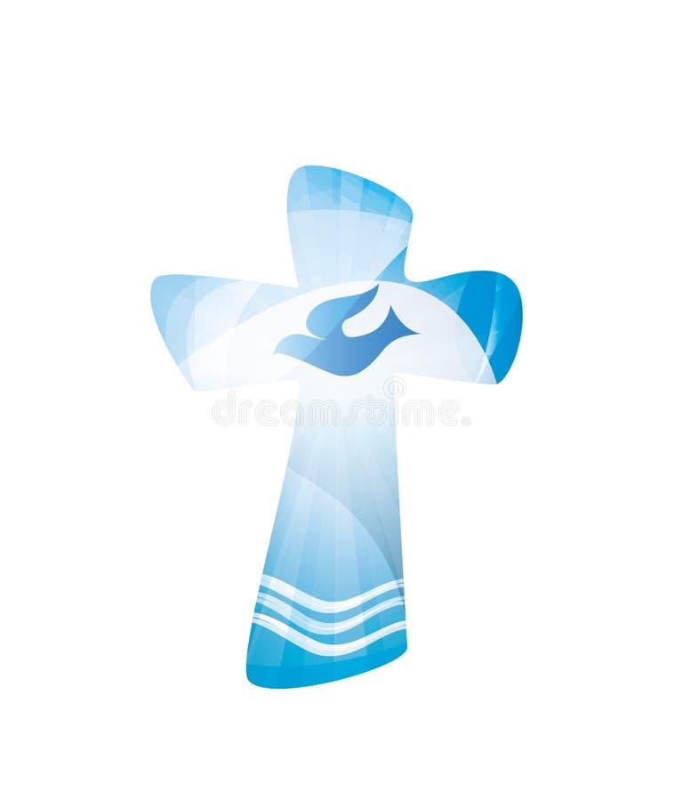 Chrześcijanina przecinający ochrzczenie z fala wodny i nurkować na błękitnym tle religijny znak wielokrotność ujawnienie ilustracja wektor