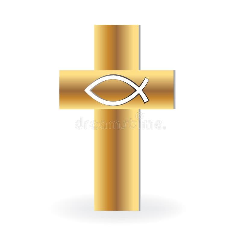 Chrześcijanina symbolu Przecinający złocisty wizerunek royalty ilustracja