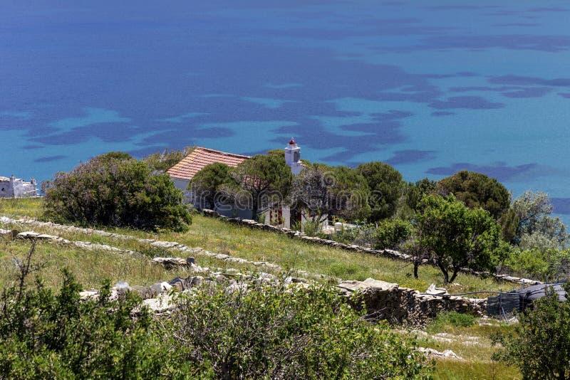 Chrze?cijanin, Ortodoksalny ko?ci?? w g?r? Andros wyspy, Grecja, Cyclades obrazy stock