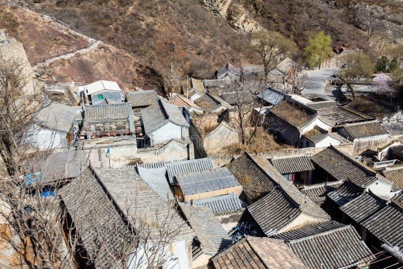 Chuandixia,河北,中国:瓦屋顶在这个古老明代村庄 免版税库存照片