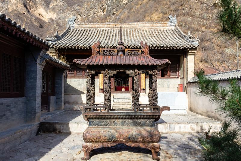 Chuandixia, провинция Хэбэя, Китай: внутренний двор виска Guandi стоковое изображение rf