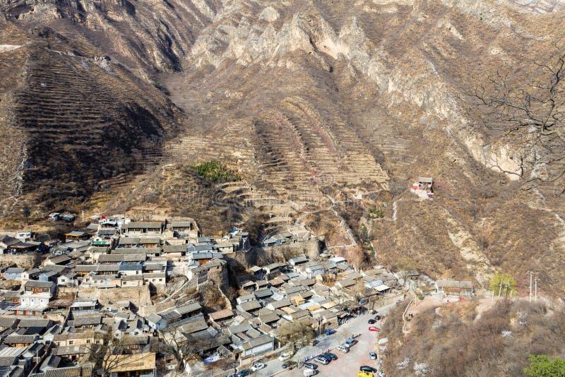 Chuandixia, провинция Хэбэя, Китай: панорамный вид этой старой деревни династии Ming стоковое изображение rf