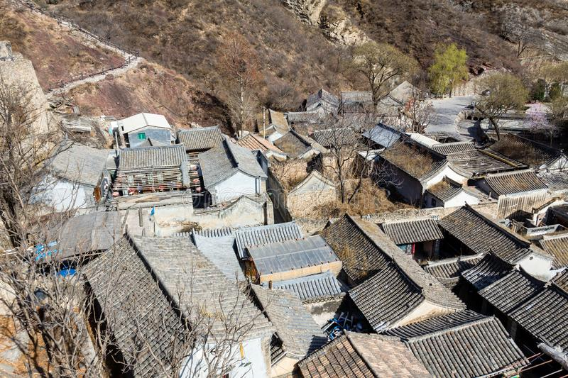 Chuandixia, Hebei province, China: tiled roofs in this ancient Ming Dynasty village. Not far from Beijing royalty free stock photos