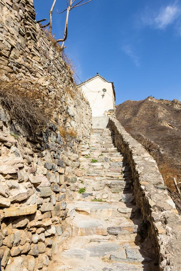Chuandixia, a small stairway in an alley of this ancient Ming Dynasty village near Beijing, China. Chuandixia, a small stairway in an alley of this ancient Ming royalty free stock photos