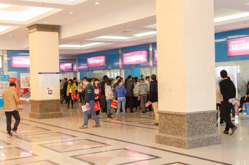 CHUANJIANG de Textielhandelmarkt van tekeningenchina in de NANTONG-Huis Textielstad die wordt geopend stock fotografie