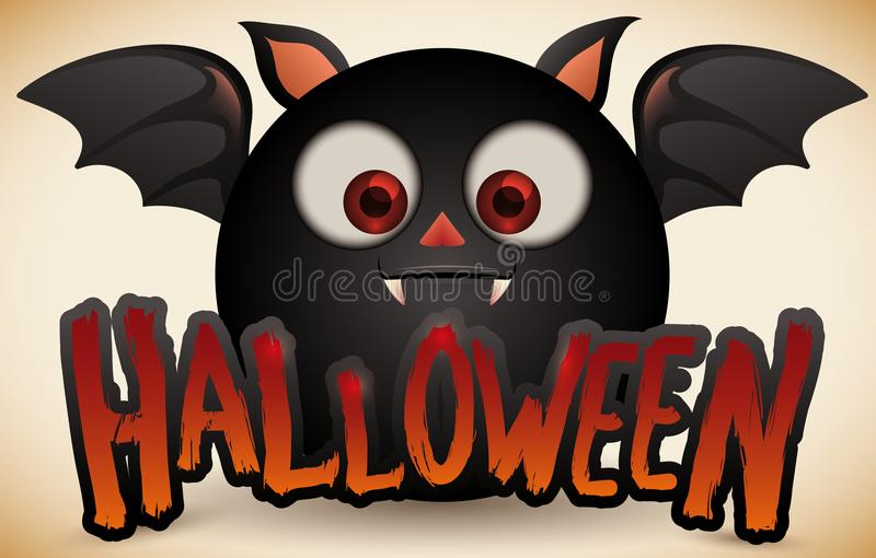 Chub Black Bat mignon pour pour la célébration de Halloween, illustration de vecteur illustration stock