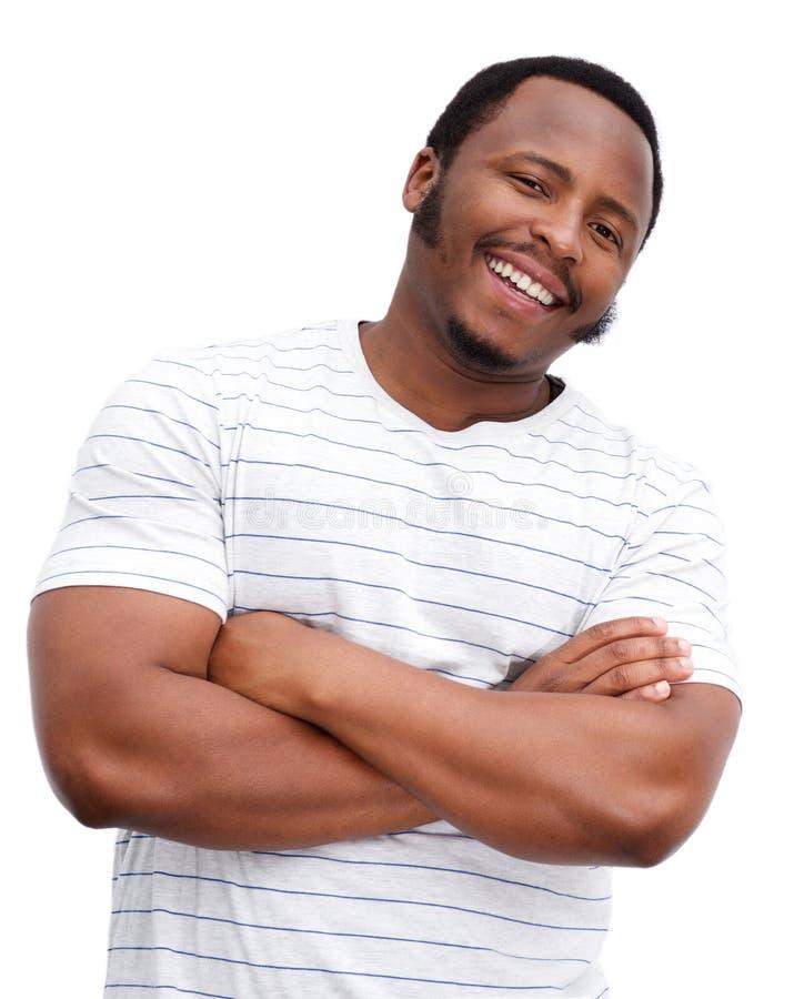 Chubby άτομο αφροαμερικάνων που χαμογελά στο απομονωμένο άσπρο κλίμα στοκ εικόνα με δικαίωμα ελεύθερης χρήσης