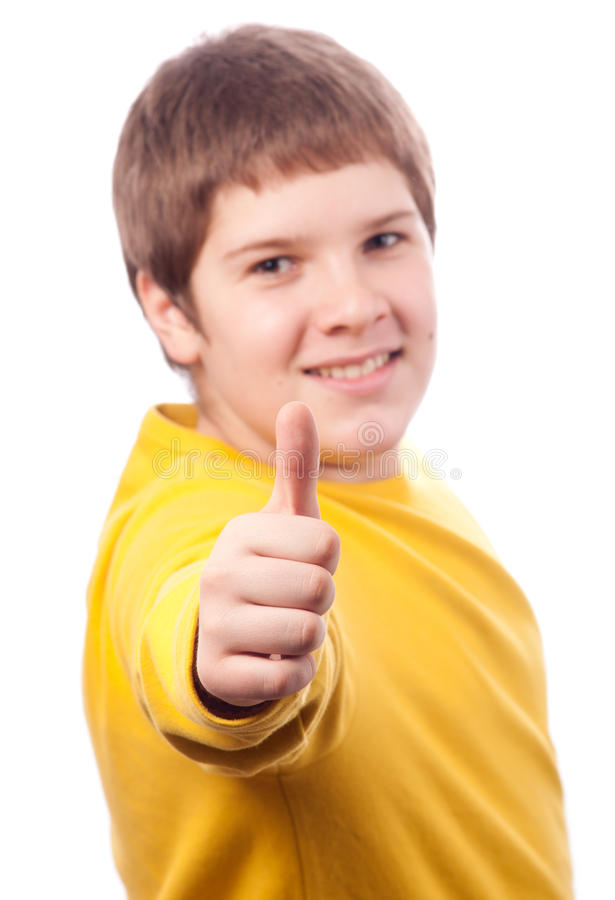 chubby όμορφοι εμφανίζοντας εφηβικοί αντίχειρες αγοριών επάνω στοκ εικόνα με δικαίωμα ελεύθερης χρήσης