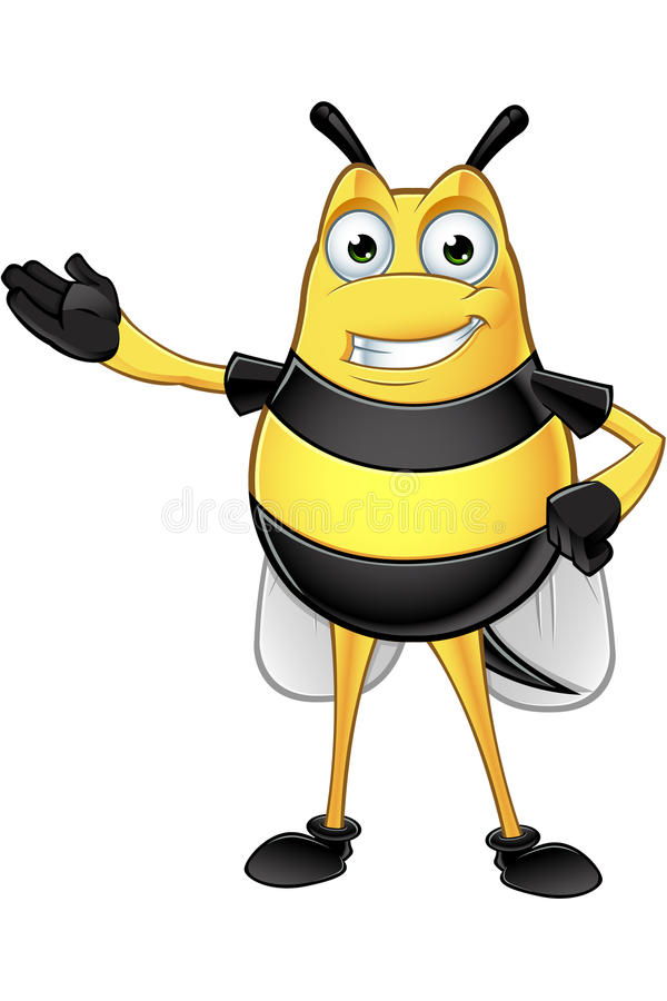 Chubby Bee Character. A cartoon illustration of a chubby looking bee character stock illustration