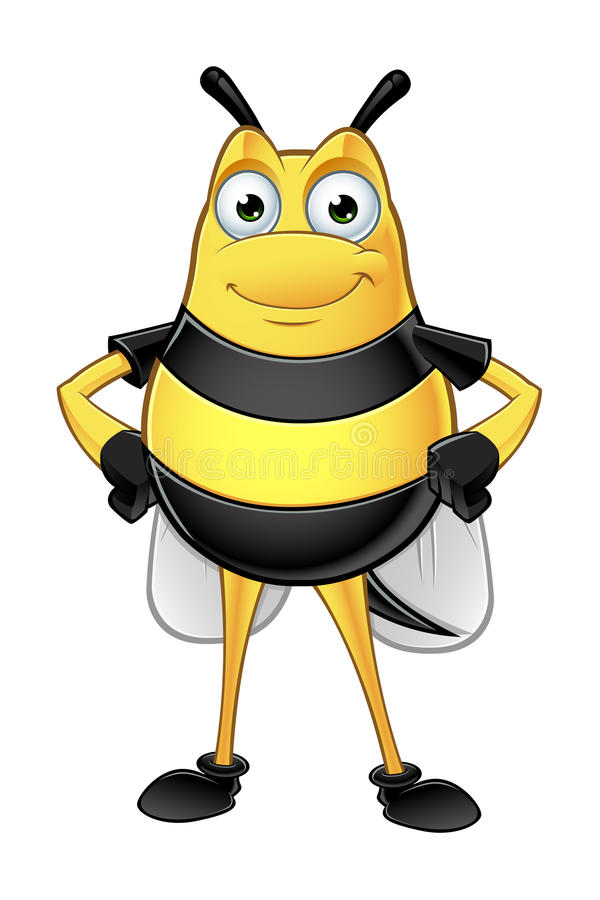 Chubby Bee Character. A cartoon illustration of a chubby looking bee character vector illustration