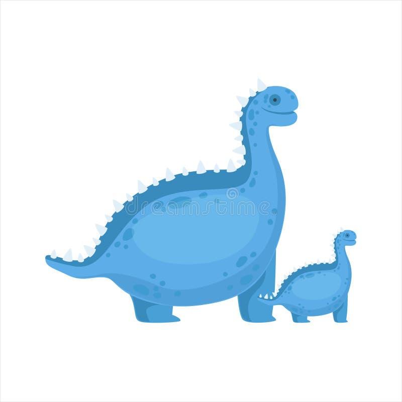 Chubby Blue Iguanodon Dinosaur Prehistoric gigantiska par av den liknande stora och lilla tecknad filmvektorillustrationen för pr royaltyfri illustrationer