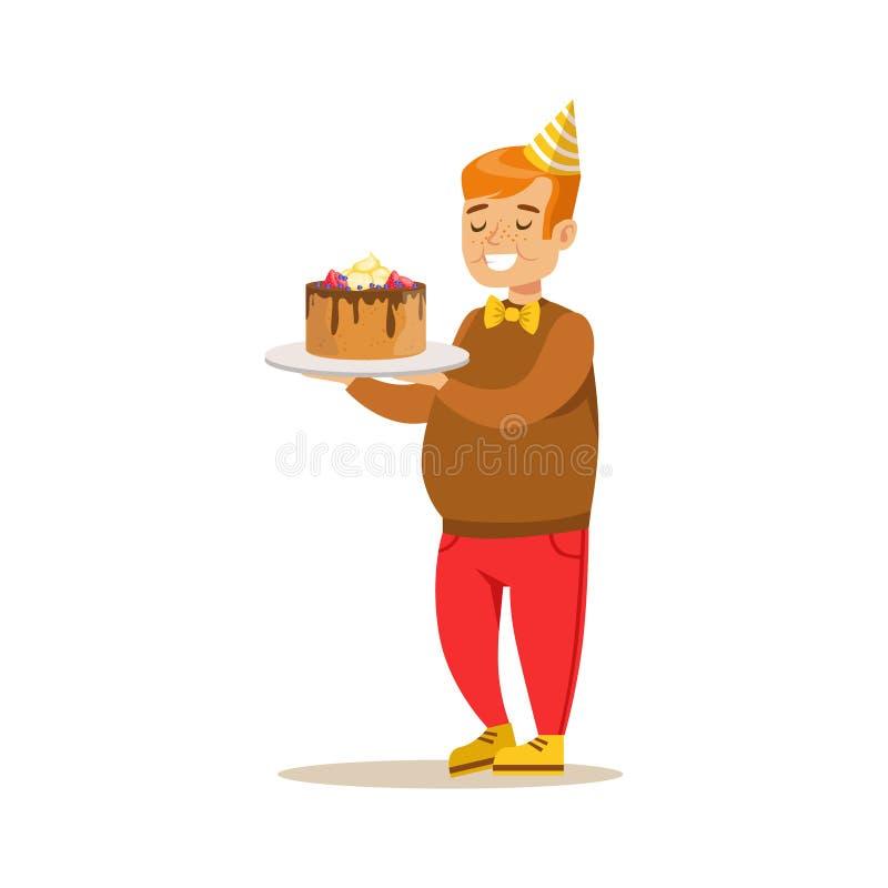 Chubby Boy With Big Cake, cena da festa de anos das crianças com caráter de sorriso dos desenhos animados ilustração stock
