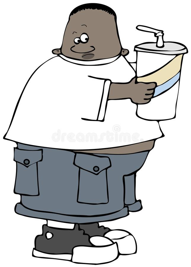 Chubby boy holding a giant soda royalty free illustration