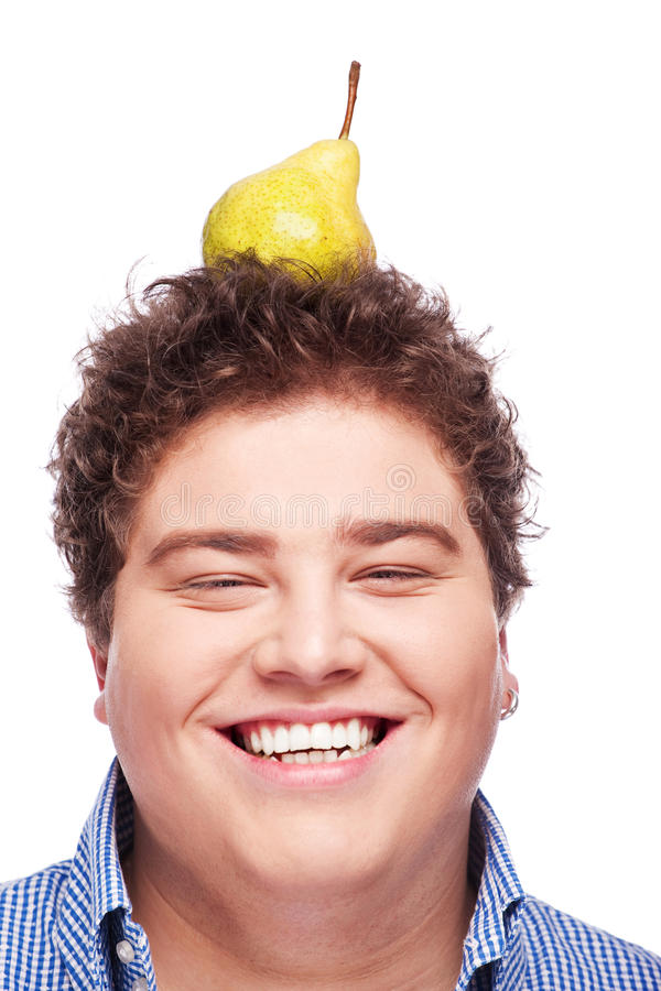 Download Chubby boy and pear stock photo. Image of diet, isolated - 22434860