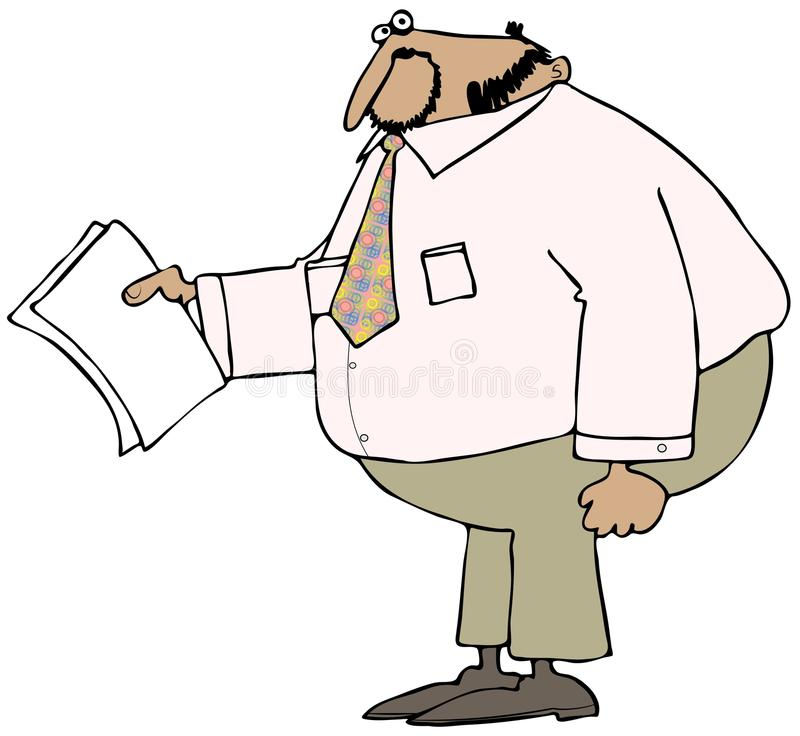 Chubby businessman holding papers vector illustration