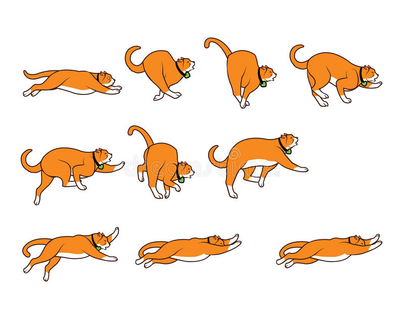 Chubby Cat Falling While Jumping Sprite royaltyfri illustrationer