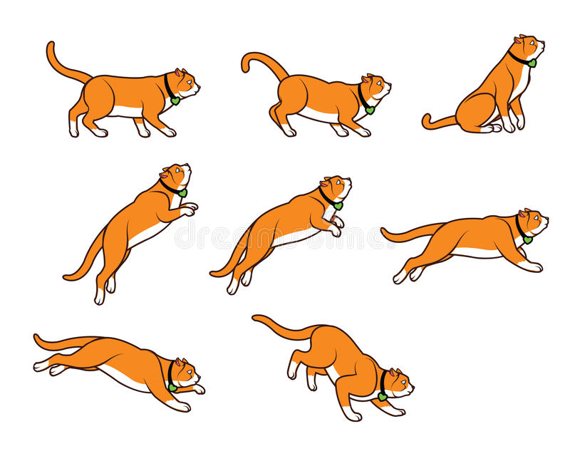 Chubby Cat Jumping Sprite stock illustrationer