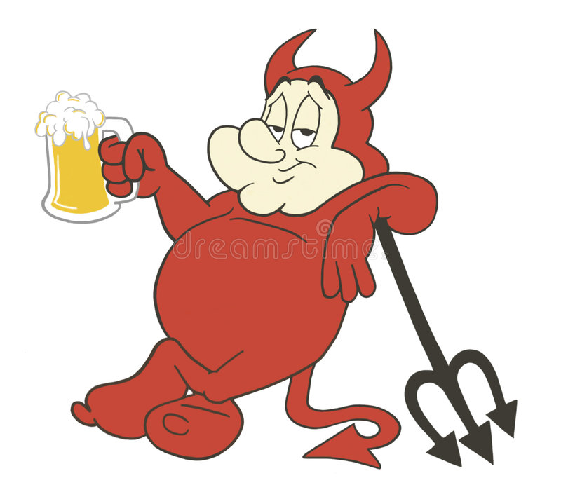 Chubby Devil With Beer royalty free illustration