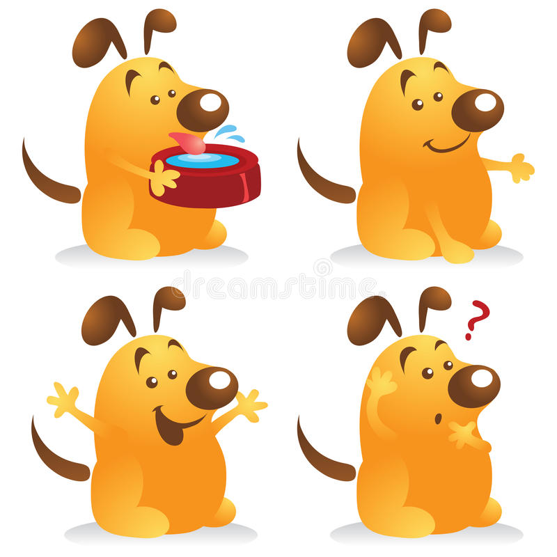 Chubby Dog Set. Chubby dog cartoon character set in different poses. Great for pet mascot royalty free illustration