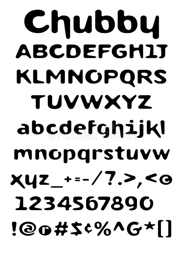 Chubby font. A Chubby font with Capitals, lowercase, numbers and glyhs. Original artwork A3 size. Available in Vector format royalty free illustration