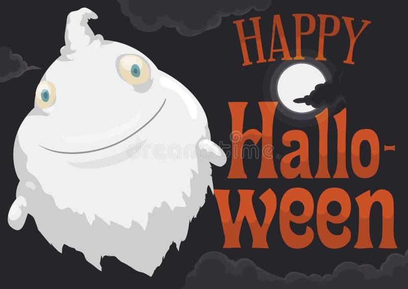 Chubby Ghost Flying durante la noche de Halloween, ejemplo de la Luna Llena del vector ilustración del vector