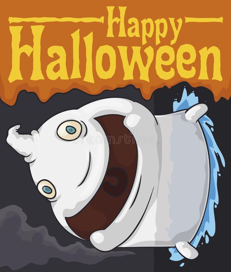 Chubby Ghost Passing Through Wall en Misty Night de Halloween, ejemplo del vector stock de ilustración