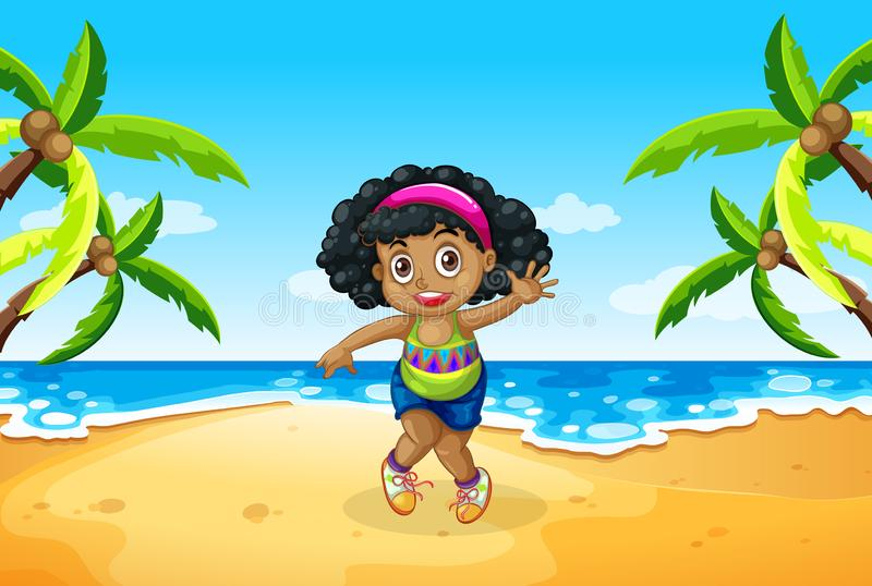 A chubby girl at the beach. Illustration royalty free illustration