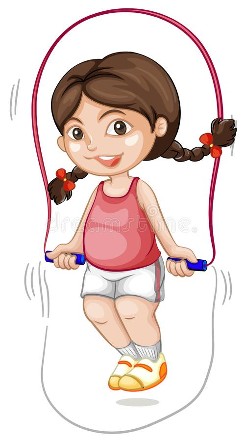 A chubby girl skipping the rope. Illustration royalty free illustration