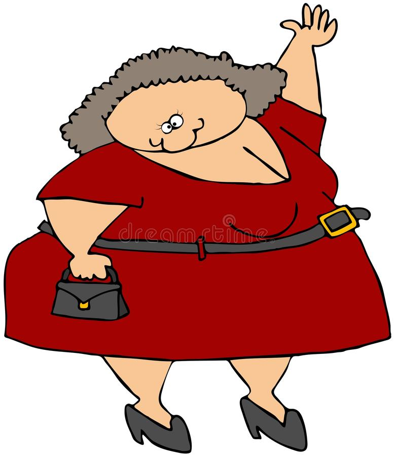 Chubby Girl Waving. This illustration depicts a chubby girl in a red dress and waving royalty free illustration