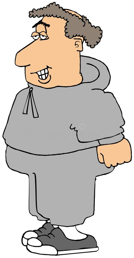 Chubby jogger wearing a sweatsuit. Illustration of a chubby jogger wearing a gray hooded sweatsuit stock illustration