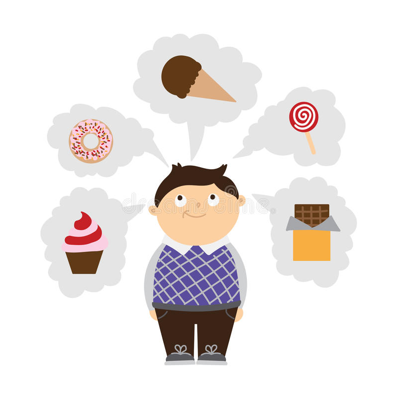 Chubby kid dreaming. Chubby kid dreaming of sweets. Boy with overweight. Isolated cartoon character. Wish in clouds royalty free illustration