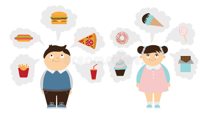 Chubby kids dreaming set. Fat smiling boy and girl dream of fast food, unhealthy sweets. Children obesity royalty free illustration