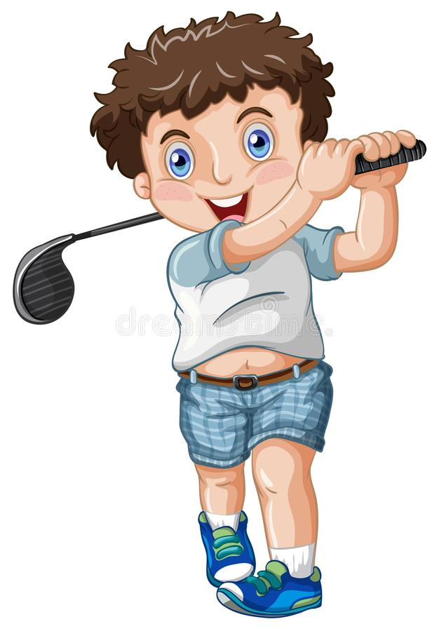 A chubby male golfer. Illustration royalty free illustration