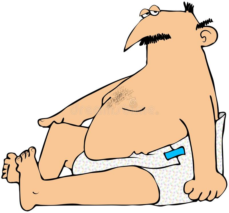 Chubby Man In Diapers. This illustration depicts a chubby man wearing diapers vector illustration