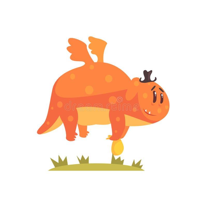 Chubby Orange Monster Flying Wearing um chapéu, estrangeiro que acampa e que caminha a ilustração dos desenhos animados ilustração stock